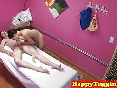 Oriental masseuse wanks cock after massage