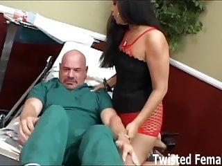 Ice La Fox humiliates her submissive male nurse