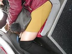 sexy milf slut upskirt on the bus
