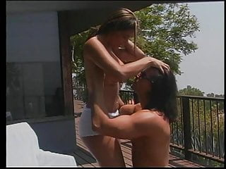 Sexy young brunette with perfect tits gets pussy fucked hard outdoors