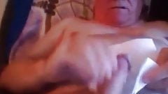 Grandpa squizing his cock to get the last drop of cum