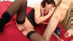 Analsex for Brigitte, mature in stockings
