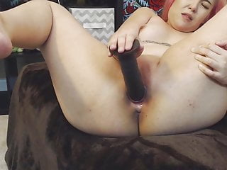 19 Asian gagging lover Elsie fucks tiny creamy pussy