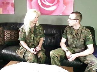 Army Milf With Hairy Pussy Fucks Young Boy Soldier German