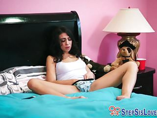 Teen stepsis gags on cum