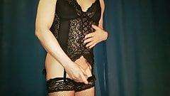 I masturbate in my new black girdle crossdresser