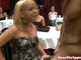 CFNM babe sucking strippers black cock