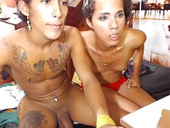 Two latinas Tgirls fucking cam