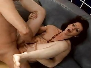 Hairy mature squirts while anal fucked