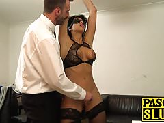 Blindfolded subslut gagging on cock before getting rammed