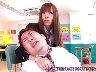 Japanese schoolgirl facialized in classroom