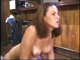 Horny brunette in bar lets two dudes lick and finger her cunt then blows them
