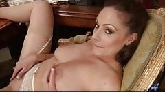 Amateur mom rubs hairy pussy to orgasm
