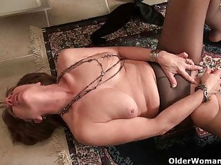 American milfs Penny and Amanda love masturbating in nylon