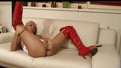 Sexy blonde german in red boots