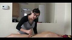 handjob & tickling, nerdy girl