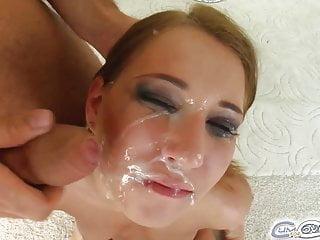 Mel gets four dicks down her throat and a cream facial