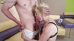 Horny mature slut mom fucking and sucking her boy
