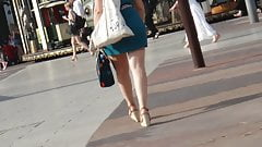 Candid bombshell with hot ass and legs in wedges heels