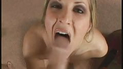 she  gives hj and didles herself till cum on face