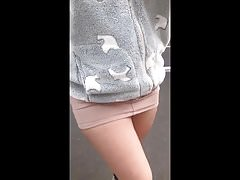 Anna micro skirt no panties public