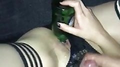 Fucking with a Bottle Rimming my Ass and Cumshot on Panty's Thumb
