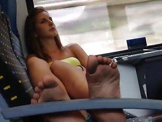 Incredibly Sexy 18yo Teen Soles Feet on Train