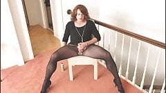 Crossdresser Ashley Lynn strokes her cock and cums