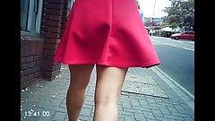 Sexy teen babe walking in little pink skirt voyeur sexy legs