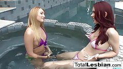 Sexy redhead likes the taste of her hot stepsister's pussy