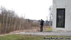 Euro twink amateur barebacked outdoors