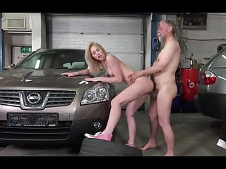 Young Blonde Fucked On Garage By Old Mechanic