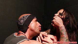 BDSM maledom submits busty skank to chokeplay