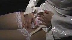 Night drive in silky satin panties, suspenders and PVC Top