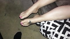 Cumming on my girl feet 2