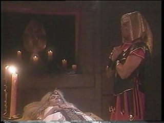 A blonde slut dressed up like an egyptian queen sucks a dick and fucks