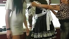 Mistresses humiliate their sissy maid house servant