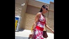 Candid voyeur hot milf wind blows dress