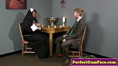 Celibate nun facialized after sinful blowjob