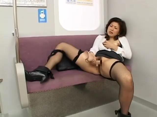 Japanese milf masturbating on the subway