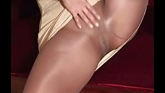 pantyhose milf gold dress
