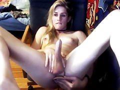 Blonde Tgirl cumming on webcam