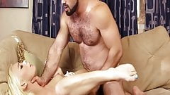 Gorgeous blonde shemale seduced a hunky muscular guy