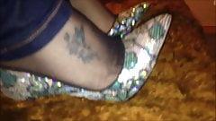 Size 4 black black nylon feet + heels + jeans