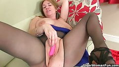 Big titted milf Lily from the UK works her puffy cunt's Thumb