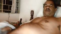 Brown daddy jerking his hug cock