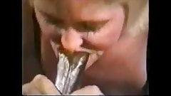 Tothless grandma sucking BBC and drink cum while hubby recor