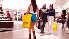 Candid voyeur hot latina teen blue shorts mall shopping
