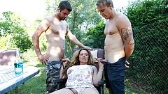 Horny Granny Seducing Two Gardners