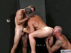 Sexy gay threesome fuck